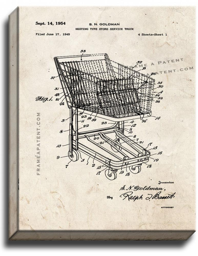 Primary image for Shopping Cart Patent Print Old Look on Canvas
