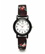 Casio LQ-139LB-1B2 Women's Leather/Fabric Black Floral Analog Watch - $21.29