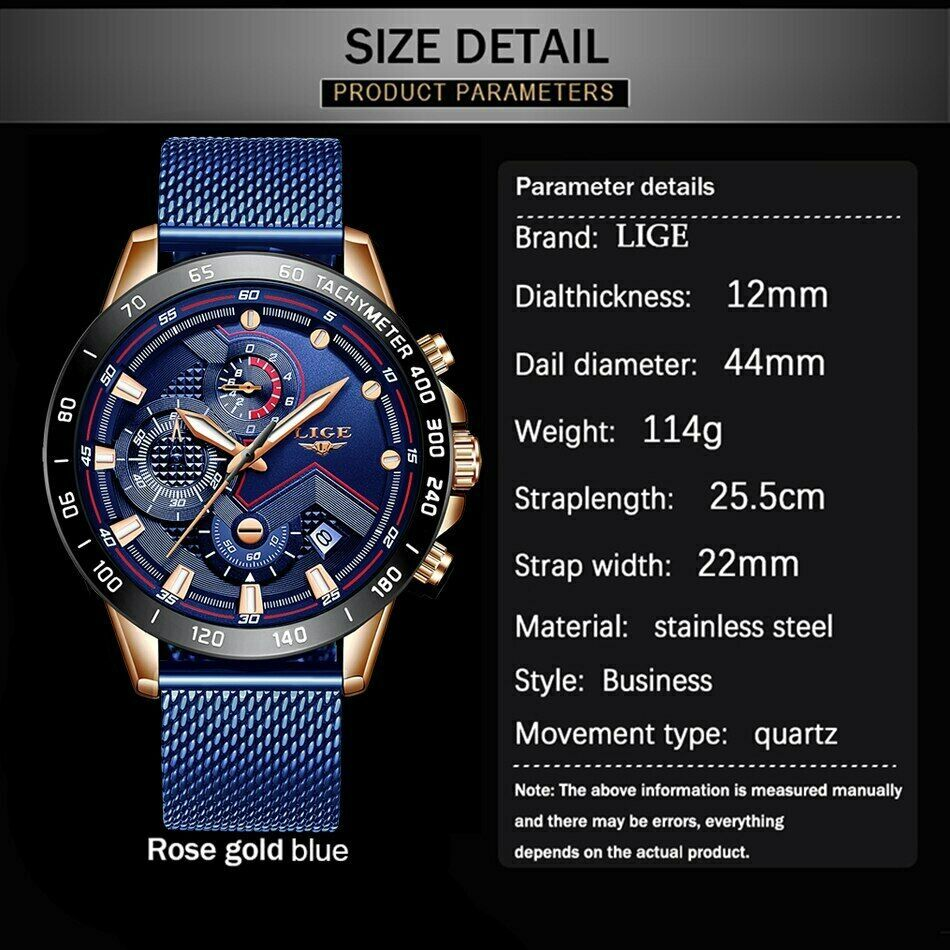 LIGE 2019 Mens Watches Top Brand Luxury Waterproof Fashion Watch Quartz Watch image 5