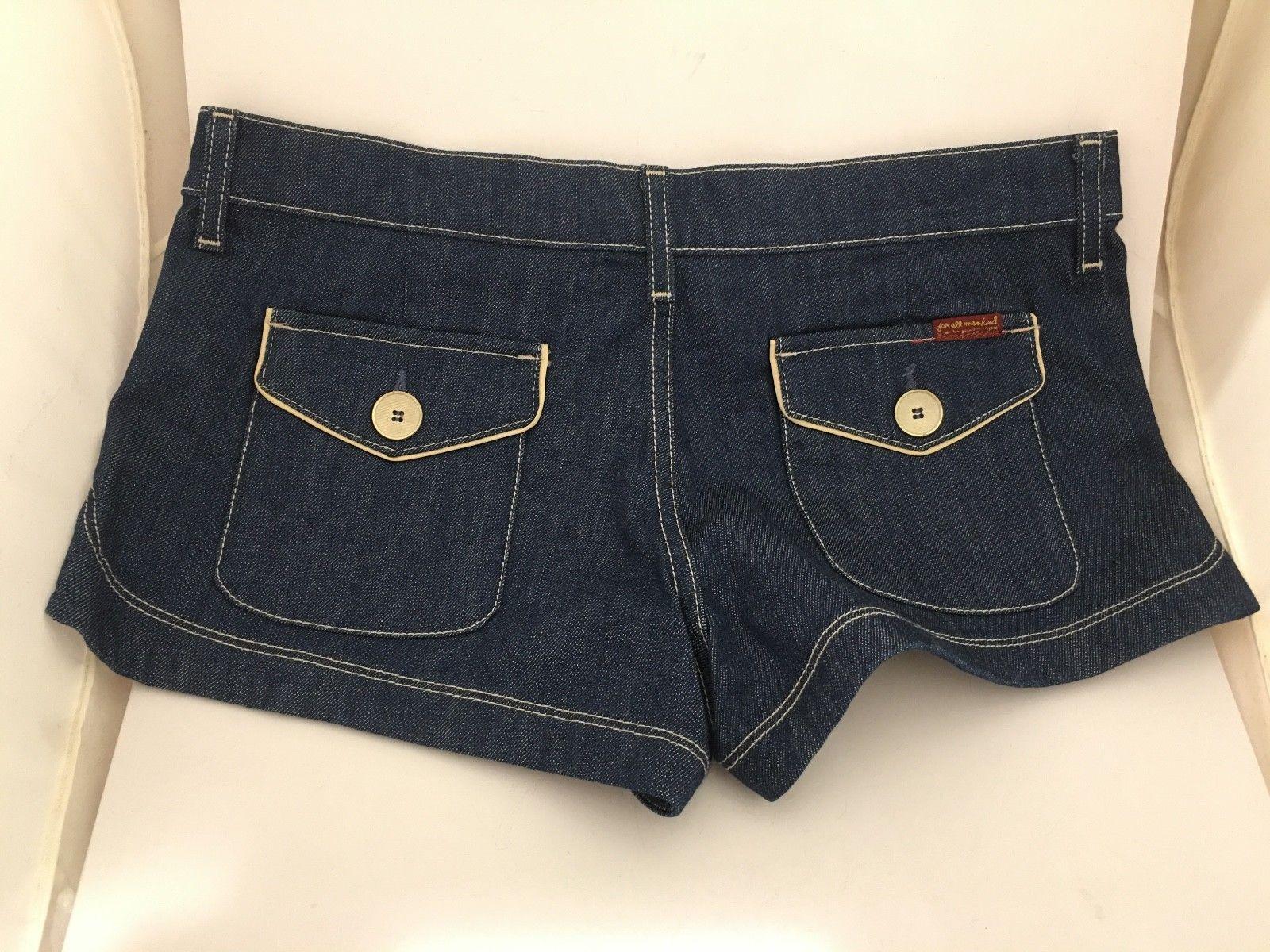 7 For All Mankind Shorts Denim Medium Dark Blue Cotton Jeans Women 30 32 10