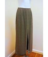 BANANA REPUBLIC 2 XS Maxi Skirt Brown Polka Dot Long Slit Straight - $16.64