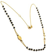 Necklace Rosary Yellow Gold 750 18K, Medal Miraculous cross, Spinel Black - $623.77