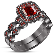 Bridal Engagement Ring Set Cushion Cut Red Garnet Black Gold Finish 925 ... - $96.89