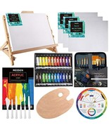 MEEDEN 48-Piece Acrylic Painting Set with Beech Wood Table Easel, 24×12ML - $107.88