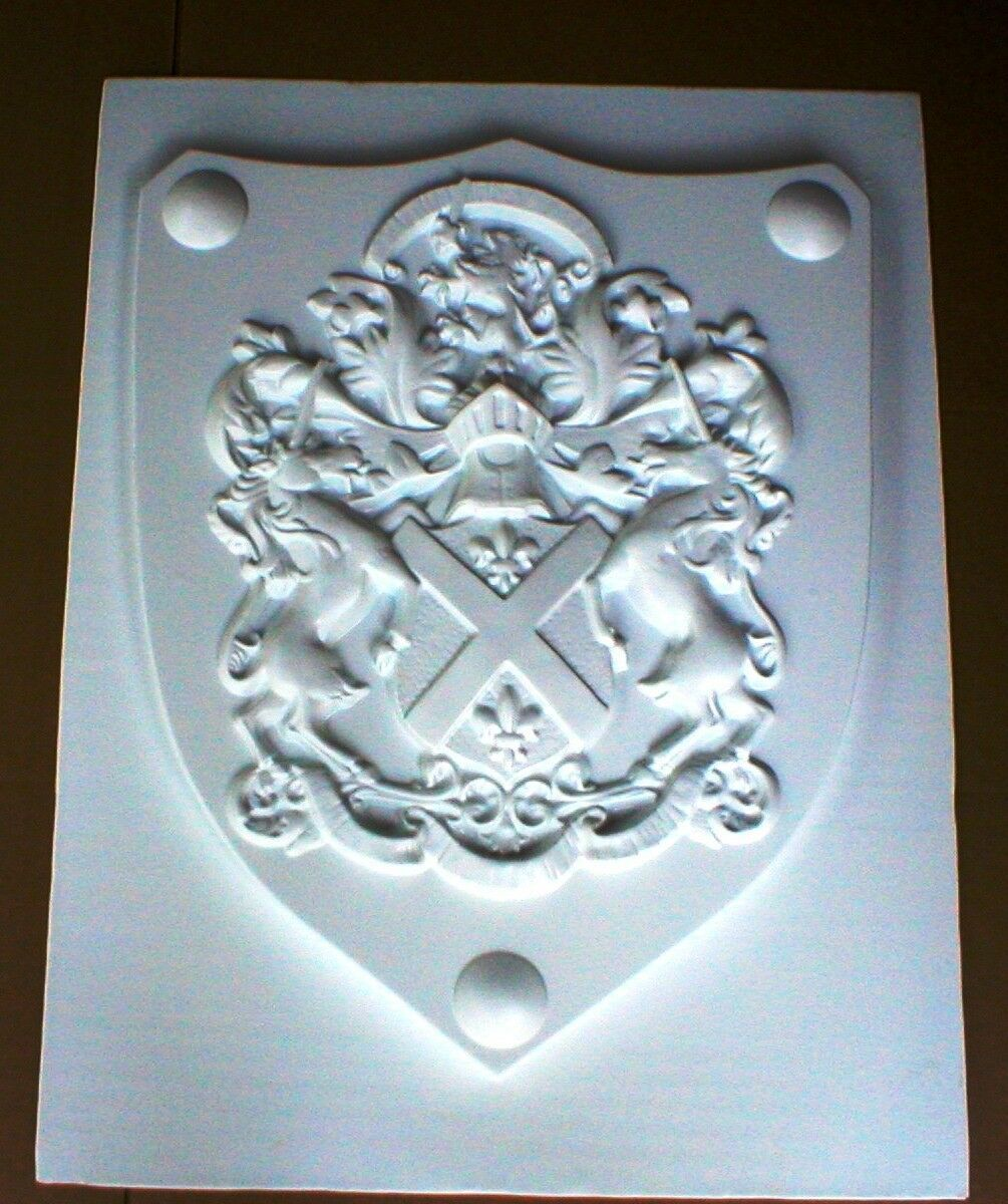 "Medieval Shield Mold 24x30x3"" Makes Concrete or Plaster Hanging Wall Plaques"