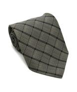 Giorgio Armani Cravatte Men's 100% Silk Tie Black Gray Plaid Made In Italy - $32.62