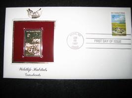 1981 WILDLIFE HABITATS GRASSLANDS 22kt Gold Stamp replica Golden Cover - $5.19