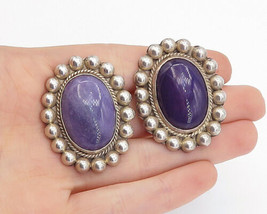 MEXICO 925 Sterling Silver - Vintage Sugilite Twist Non Pierce Earrings ... - $70.59