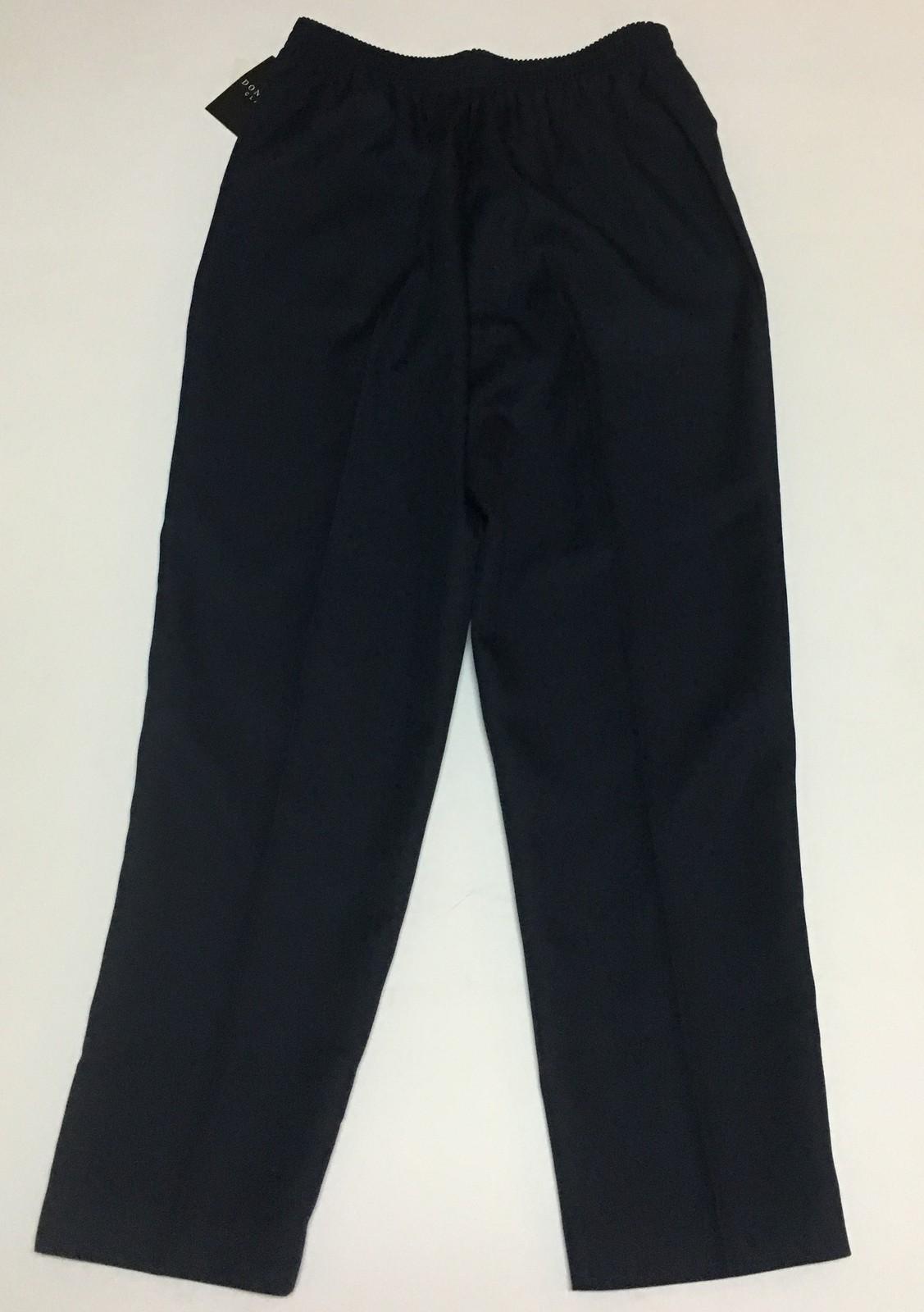 Donn Kenny Classic Navy Blue Pants Casual Elastic Comfort Waist Sz 12 Short NWT