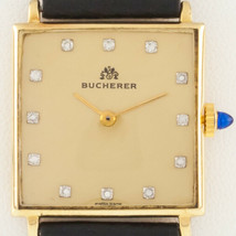 Bucherer 18k Gold Men's Hand-Winding Watch w/ Diamond Dial and Leather Band - $2,375.99