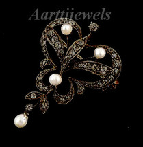 Victorian 0.82ct Rose Cut Diamond Pearl Gorgeous Lovley Wedding Brooch/Pin - $315.10