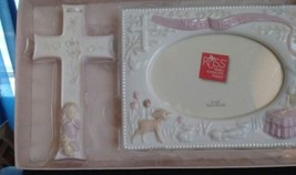 Baptism Picture Frame 4x6 pic & Cross Gift Set by Russ Never Used Keepsake Pink - $18.69