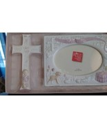 Baptism Picture Frame 4x6 pic & Cross Gift Set by Russ Never Used Keepsa... - $18.69