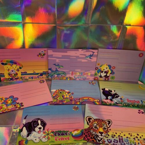 Vintage Lisa Frank 8Piece Envelope Lot Peekaboo Violet Racoons Ice Cream Dogs