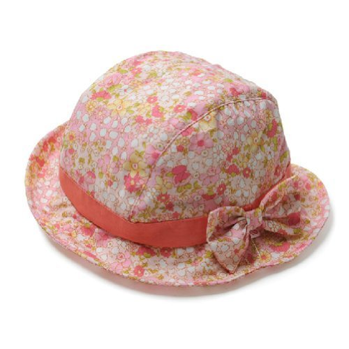 Floral Baby Girl Sun Protection Hat Infant Floppy Cap Toddler Sun Hat Orange50CM