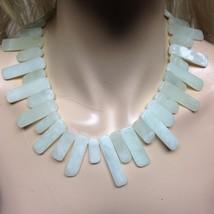 Runway, Elegant, Spiky, Tubular, Green Jade 18in Beaded Necklace - $47.45