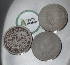 Liberty Head Nickel Five-Cent V Pieces 1890, 1891 and 1897 AA20-CNN2149 Antique image 2