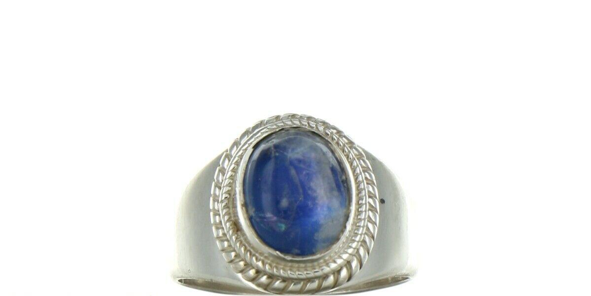 Vintage Sterling Silver Natural Blue Quartz Cabochon Fashion Ring No. 2106