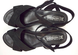 MEPHISTO Size 10 Black Nubuck Ankle Strap Sandals Shoes 41 - $64.00