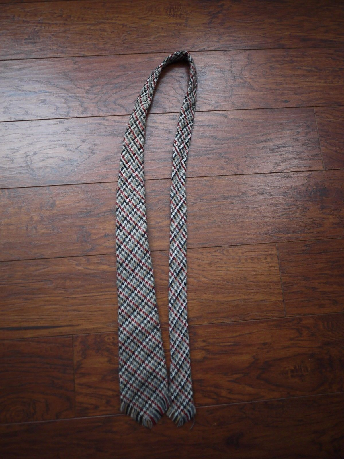 Primary image for Sears Tweed Wool blend plaids checks multi-colored fringes tie