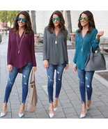 Fashion Women Long Sleeve V-Neck Casual Loose Chiffon Blouse - $37.00