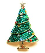 Vintage WEISS Signed Pave Multi-Color Christmas Tree Pin - $42.75