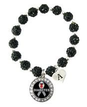 Custom Diabetes Awareness Black Bling Bracelet Jewelry Choose Initial Family - $13.80+