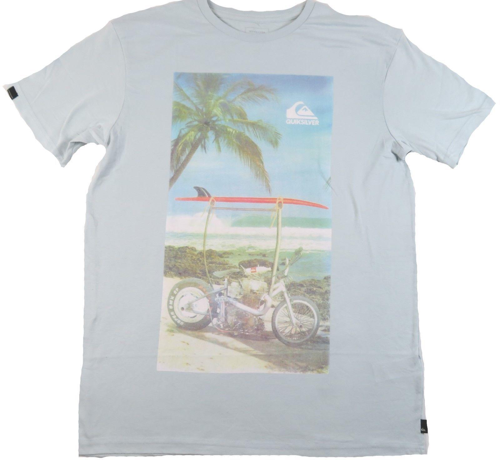 Quiksilver Men's Tee Shirt Surfing Beach Casual Sky Blue Biker Rack T-Shirt