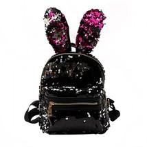 Sequin Shinny Glitter Moon Women Fashion Backpack Bunny Ears Rabbit Beau... - $25.99