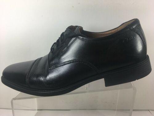 Clarks Mens Sz 10 M Cap Toe Oxford Dress Shoe Black Leather Ortholite Comfort