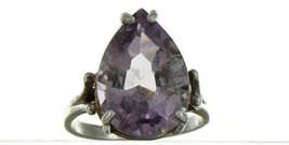 Ladies Size 7.25 Sterling Silver Large Natural Amethyst Fashion Ring No. 2154