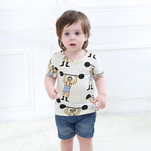 Kids Boys Cartoon Animal Ptint T-shirt Children Short Sleeve Casual Top ... - $9.58