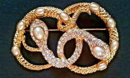 Vintage KJL Kenneth Jay Lane Gold Tone Pin Double Snake Rhinestone Pearl... - $349.99