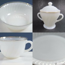 Fire King Milk Glass White Swirl Combo Lot Cup Vegetable Bowl Platter Su... - $13.18