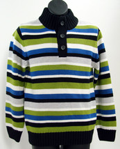 Gymboree Boys Sweater Knit Ice Hero Button Neck Striped Black Blue Green S 5 6 - $23.01