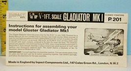 INPACT KITS Gloster Gladiator Mk.I Classic Fighter Series INSTRUCTION SH... - $9.99