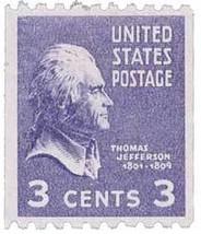 1939 3c Thomas Jefferson Coil Postage Stamp Catalog Number 851 MNH