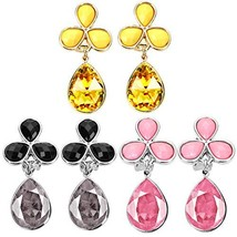 Yellow Black Pink Clip On Earrings for Women Girl Dangle - $14.24