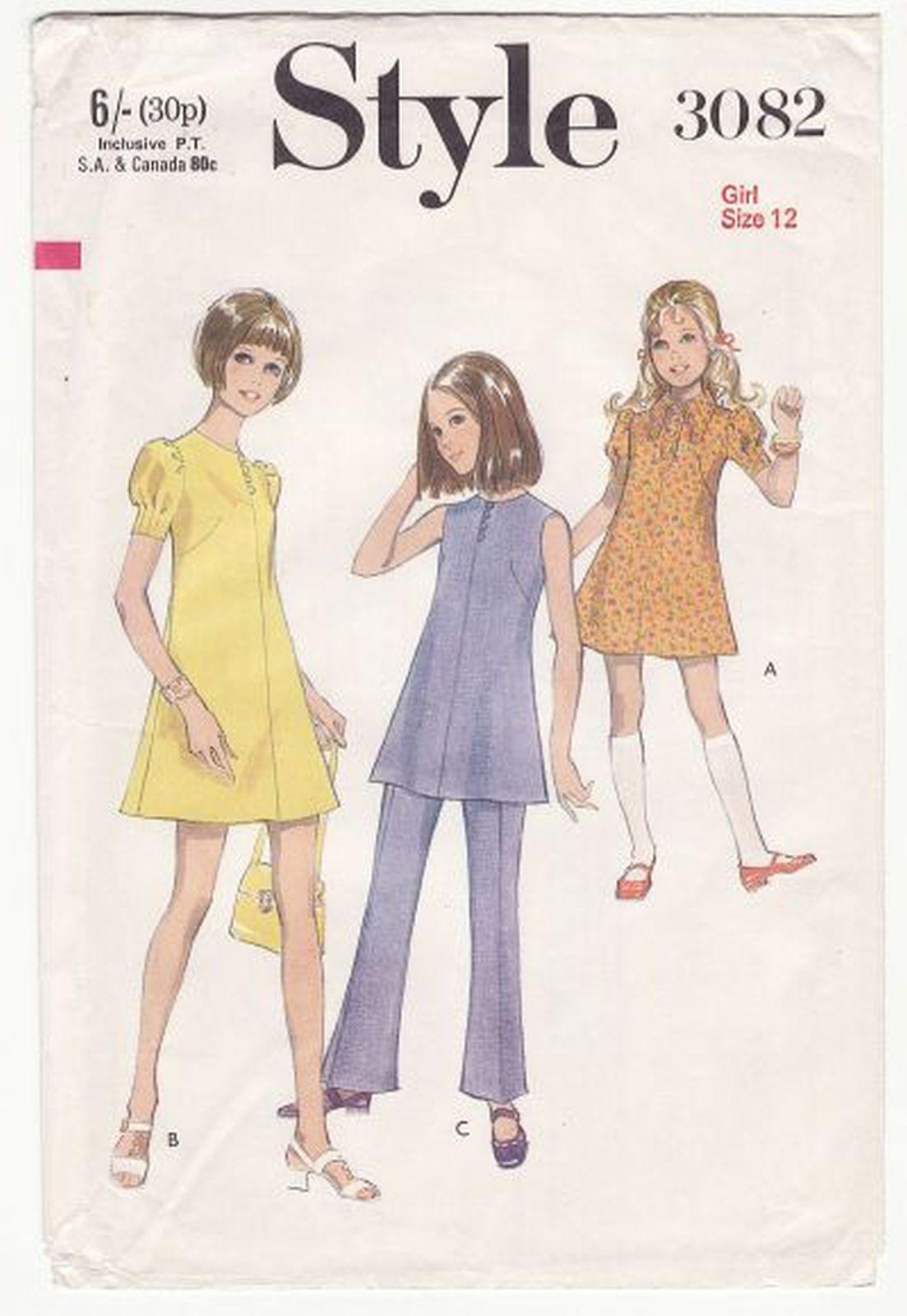 Vintage 1970 Girls Style Dress Tunic Trousers Pants Sew Pattern S12