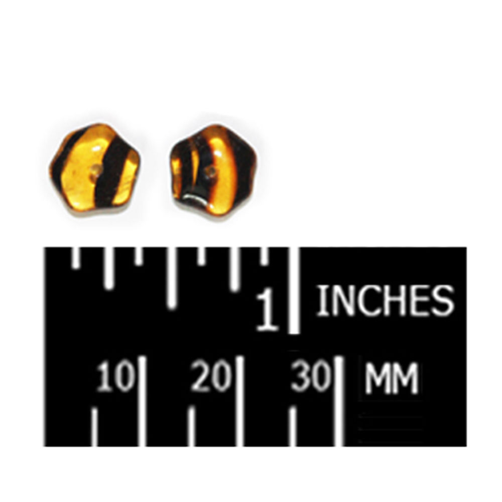 Tortoise Pentagon Czech Pressed Glass Beads 4x10mm (pack of 30)