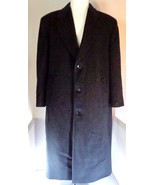 Stafford Men's Black Wool Blend Over Top Coat Size 46 Made in Hungary - $66.71