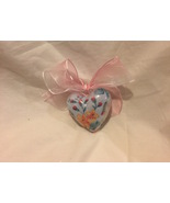 Heart Ornament Chintz Blue, Red, Orange Inside Decoupage Plastic Heart O... - $9.99