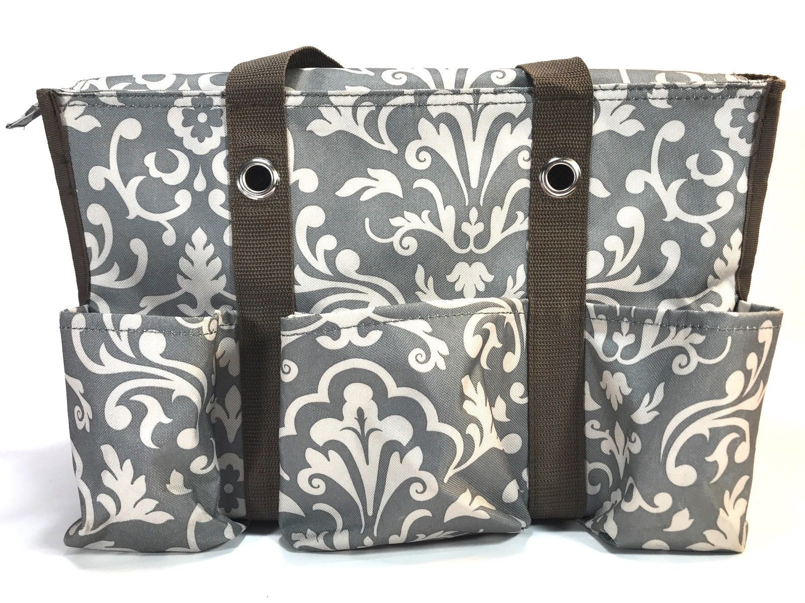 THIRTY ONE gray 2 piece car organizer slip in carry all easy clean tote set