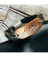 Braided Brown Leather Cord Bracelet Just Breathe Copper Silver Magnetic ... - $29.69