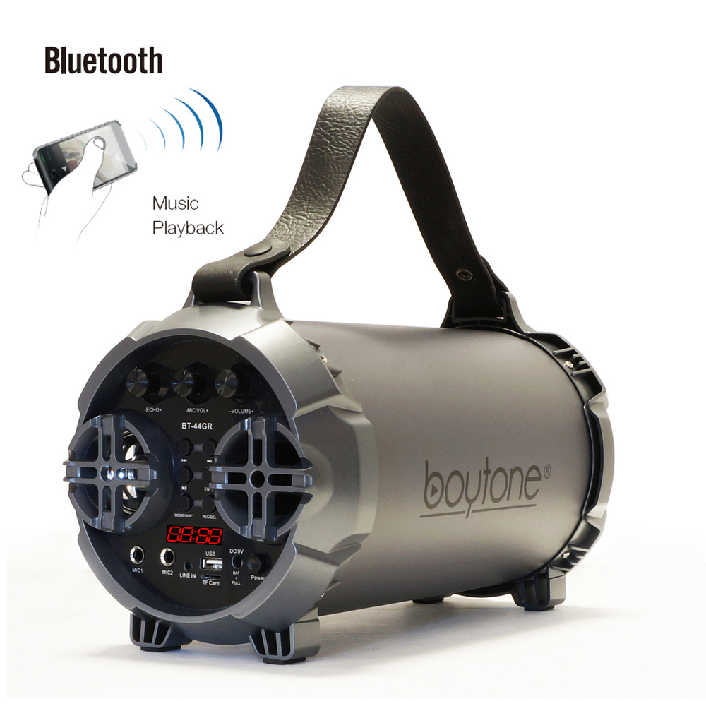 Boytone BT-44GR Portable Bluetooth Indoor/Outdoor 2.1 Hi-Fi Cylinder Loud Speake