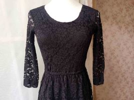 Black Crop Sleeve Stretch Long Lace dress BLACK Plus Size Lace Formal Dress NWT image 5