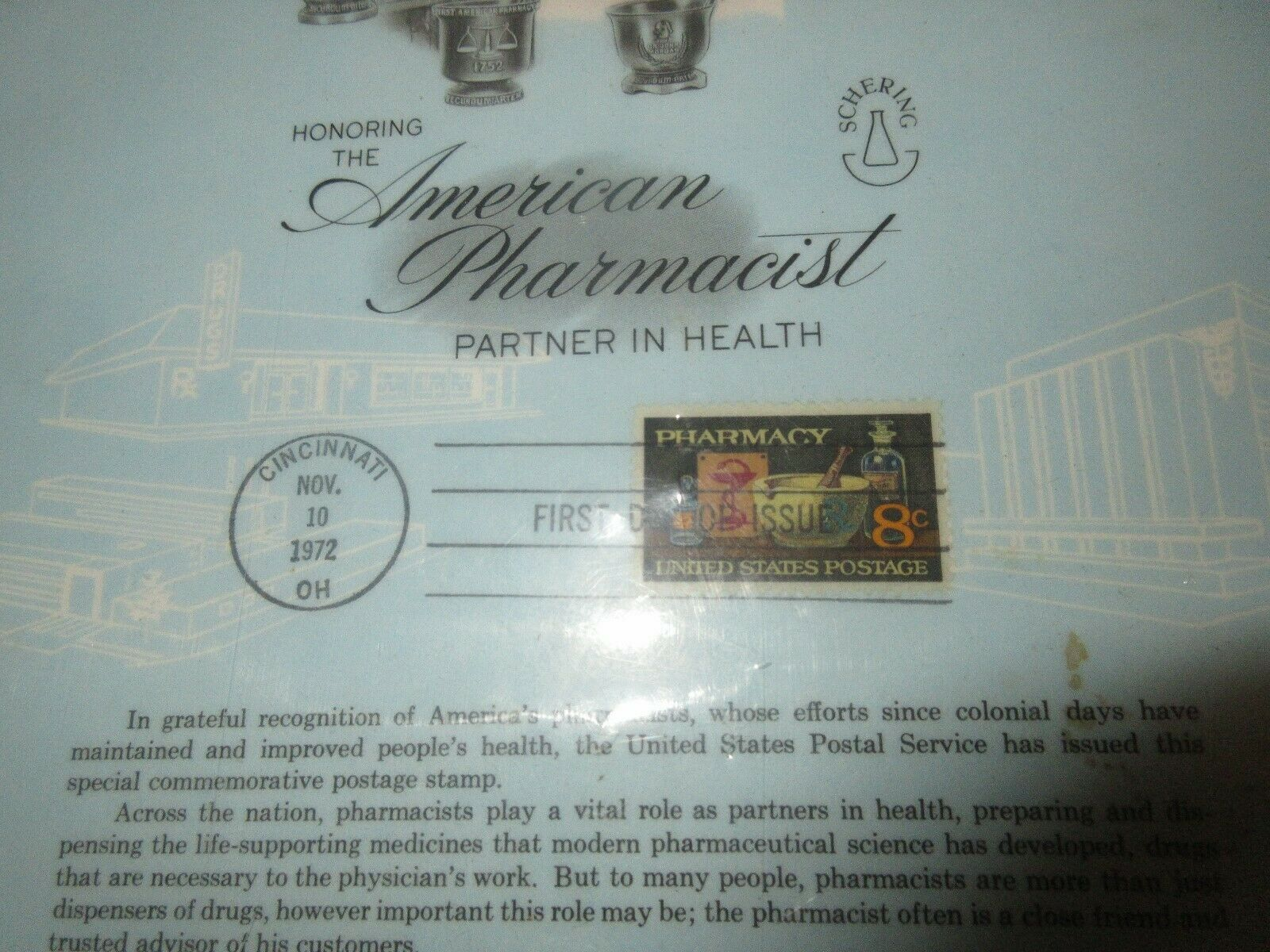 "Honor The American Pharmacist Partner In Health ,Plaque ,11/10/1972 , 11""X121/2"" image 2"