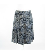 Blue black paisley cotton blend ANN TAYLOR pleated skirt 4 - $24.99