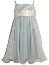 Bonnie Jean Little Girl 2T-6X Blue/ivory Flutter Petal Mesh Overlay Social Party