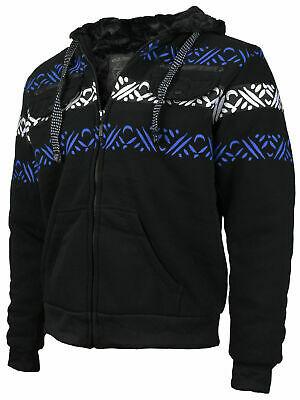 EKZ Men's Graphic Geo Tribal Fleece Lined Zip Up Sherpa Hoodie Jacket X-LARGE
